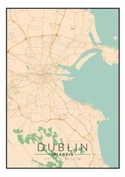 Dublin mapa kolorowa - plakat