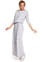 Szara zbluzowana maxi sukienka z paskiem