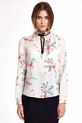 Kwiatowa ecru elegancka bluzka ze stójką i wiązaną tasiemką