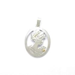 Wisiorek srebrny - dama kameliowa satynowa