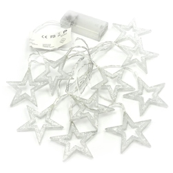 Zestaw 2 20 led fairy lights błyszczące gwiazdki ciepła biel bateria 6,5 cm