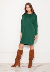 Luźna dzianinowa sukienka z przeszyciami - zielona