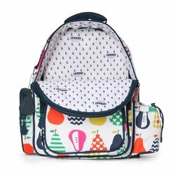 Plecak z kieszeniami, Gruszki, biało-granatowy, Penny Scallan