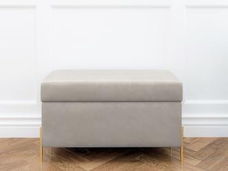 Jasnoszara tapicerowana ławka dancan borgo z pojemnikiem, na złotych metalowych nogach