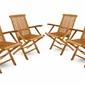 Zestaw 4 krzeseł ogrodowych ze składanym podłokietnikiem z litego drewna tekowego poddanego obróbce