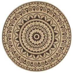 Vidaxl ręcznie wykonany dywanik, juta, ciemnobrązowy nadruk, 120 cm