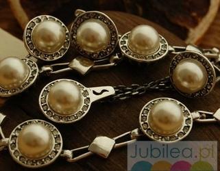 Srebrny komplet perły i kryształy adria