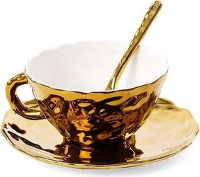 Filiżanka do herbaty ze spodkiem i łyżeczką fingers