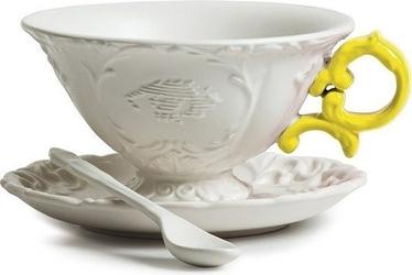 Filiżanka do herbaty ze spodkiem i łyżeczką i-tea żółta