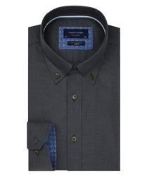 Ciemno-zielona flanelowa koszula profuomo slim fit 42