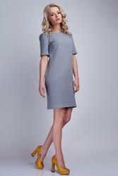 Szara Sukienka w Minimalistycznym Stylu z Dekoltem na Plecach