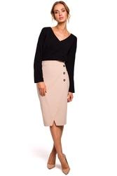 Elegancka spódnica ołówkowa z ozdobnymi guzikami beżowa m454