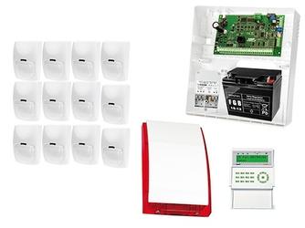 Zestaw alarmowy: płyta główna integra 32, manipulator int-kldc-gr, 12x czujka bingo, sygnalizator zewnetrzny spl-5010 r,  akcesoria