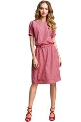 Czerwona casualowa sukienka w drobną krateczkę