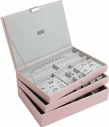 Pudełko na biżuterię potrójne supersize Stackers jasnoróżowe