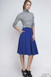 Niebieska Delikatnie Plisowana Spódnica Długości Midi