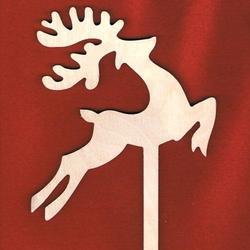 Drewniana dekoracja na patyku - renifer w biegu - REB
