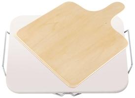 Ceramiczny kamień do pizzy z drewnianą łopatą
