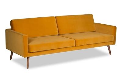 Sofa glädje 3-osobowa welurowa deluxe - welur łatwozmywalny balsam