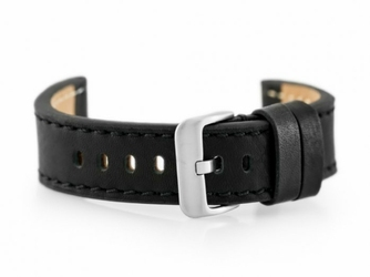 Pasek skórzany do zegarka W48 - PREMIUM - czarnyczarne - 24mm