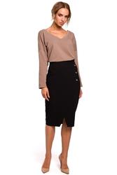 Elegancka spódnica ołówkowa z ozdobnymi guzikami czarna m454