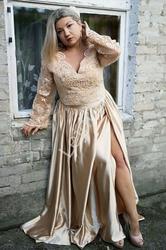 Zniewalająca suknia wieczorowa w złotym kolorze, gorset i spódnica dla mamy panny młodej, mamy pana młodego