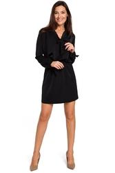 Czarna kobieca krótka sukienka z wiązaniem