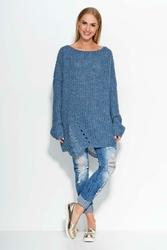 Niebieski Długi Luźny Sweter z Modnymi Dziurami