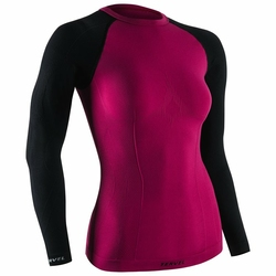 TERVEL Damska Koszulka Długi Rękaw COMFORTLINE 2002COMCARBLA - Różowy || Czarny