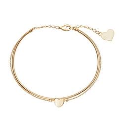 Staviori bransoletka złota sztywna z łańcuszkiem i sercami żółte złoto 0,333