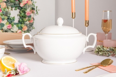 Waza do zupy porcelana mariapaula złota linia 2,7 l