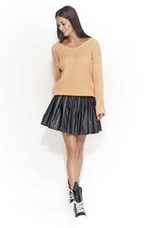 Morelowy swobodny sweter z dekoltem w szpic