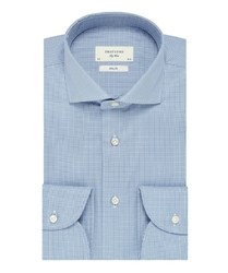 Elegancka koszula męska profuomo sky blue w pepitkę 41