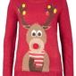 Sweter bożonarodzeniowy quot;reniferquot; bonprix ciemnoczerwony wzorzysty