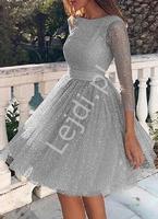 Krótka srebrna sukienka brokatowa na wesele, studniówkę, bal 2243
