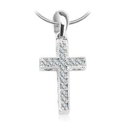Staviori wisiorek. krzyżyk i serca 17 diamentów, szlif brylantowy, masa 0,10 ct., barwa h, czystość i1. białe złoto 0,585. wymiary 9x21 mm.