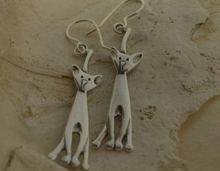 Koty - srebrne kolczyki