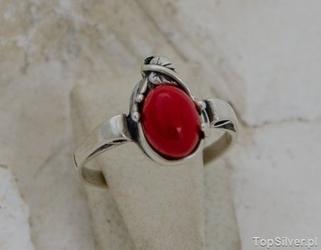 Bibina - srebrny pierścionek z koralami