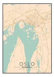 Oslo mapa kolorowa - plakat wymiar do wyboru: 21x29,7 cm