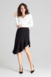 Czarna asymetryczna spódnica z falbanką