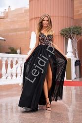 Czarna sukienka wieczorowa z beżową podbitką chiara emo