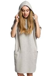 Popielata luźna nietoperzowa sukienka z kapturem