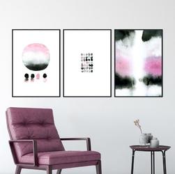 Zestaw trzech plakatów - watercolor design , wymiary - 30cm x 40cm 3 sztuki, kolor ramki - czarny