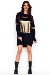Czarna luźna sukienka z aplikacjami z tiulu i eko-skóry
