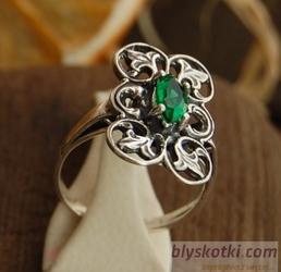 SCENIC - srebrny pierścionek ze szmaragdem