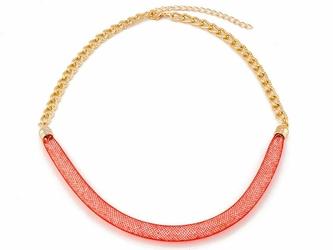 NASZYJNIK złoty łańcuszek CZERWONY - RED