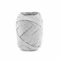 Wstążka plastikowa brokatowa 5mm10m - srebrny - srebrny