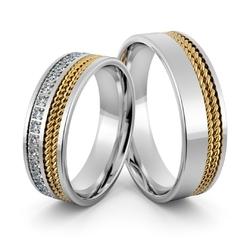 Obrączki ślubne z brylantami i warkoczami - au-1007