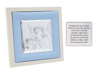 Obrazek srebrny anioł stróż w niebieskiej ramce pamiątka chrztu na chrzest grawer