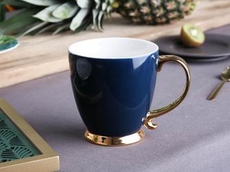 Duży kubek  filiżanka do kawy i herbaty porcelanowy altom design urban gold granatowy 400 ml